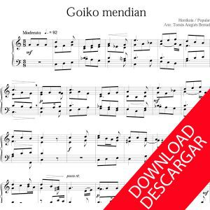 Goiko mendian Piano Partitura descargar